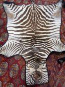 A Zebra skin rug