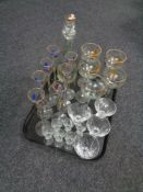A tray of assorted glass ware,