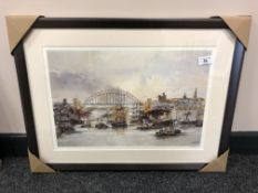 After Tom MacDonald : Shipping on the Tyne, reproduction in colours, signed in pencil,