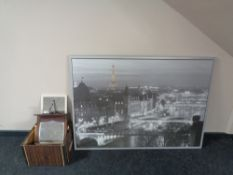 A large framed print of a Parisian skyline together with a box of antique and later mirrors and
