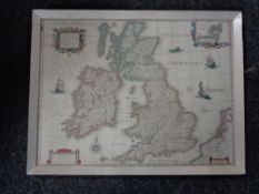 A framed map of the British Isles and Ireland