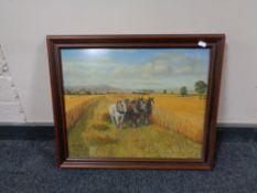 20th century school, Horses at work in hay field, oil, framed.