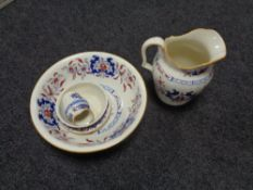 A four piece Victorian Mintons china wash set