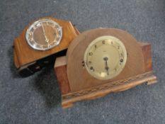 Two 1930s oak cased mantel clocks (A/F).