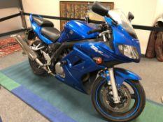 A 2007 Suzuki SV 650 motorcycle, Registration NU57 ZSJ, Blue, 6,362 miles,
