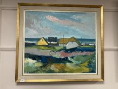Continental school : Buildings by a coast, oil on canvas, 69 cm x 59 cm, initialed AS, framed.