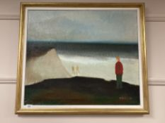 Continental school : Figures by a coast, oil on canvas, 69 cm x 59 cm, indistinctly signed, framed.