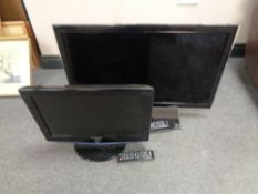 A Samsung 19'' LCD TV together with further Samsung 32'' LCD TV, both with remotes,