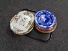 A tray containing antique and later plates to include opaque china Shakespeare plates, Minton,