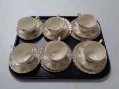 18 pieces of Myott Old Chelsea Staffordshire tea china.
