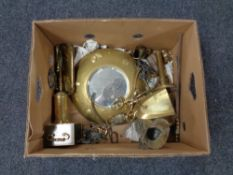 A box of assorted brass ware, companion pieces, porthole mirror,