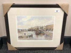 After Tom MacDonald : Seahouses, reproduction in colours, signed in pencil, 21 cm by 30 cm, framed.