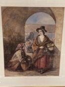 Twentieth century school : Figures beneath an archway, watercolour, 45 cm x 57 cm, framed.