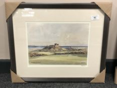 After Tom MacDonald : Bamburgh Golf Course, reproduction in colours, signed in pencil,