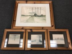 Four pine framed landscape scene prints (4)