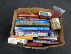 A box of vintage and later board games to include Battle Star Galactica, Star Trek,
