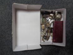 A box of assorted silver and plated wares including pierced silver bowl,