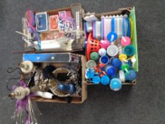 Three boxes of children's drinking bottles and storage jars, table lamps, cash box,