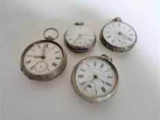 Four silver pocket watches - Thomas Russell of Liverpool, Collingwood & Son and two others.