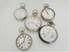 Five over-sized vintage pocket watches.