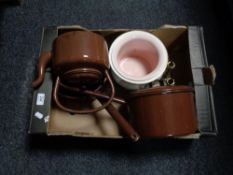 A box of enamelled kettle and lidded sauce pans,