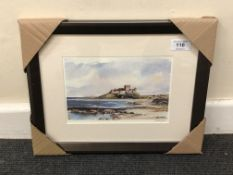 After Tom MacDonald : Bamburgh Castle from the beach, reproduction in colours, signed in pencil,