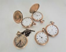 Five gold plated pocket watches including two full hunters.