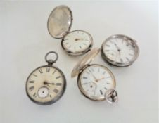 Four silver pocket watches including two full hunters, George Pickett etc.