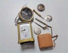 An antique French carriage clock, three watch tools, Europa travel clock etc.