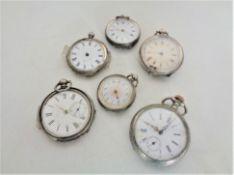 Six Continental silver fob watches.