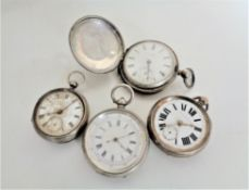 Four nineteenth century silver pocket watches, John Forest, Improved patent and two others.