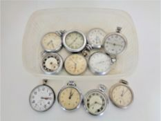 Ten chrome plated pocket watches by Smiths, Ingersoll, Helvetia and a stop watch.