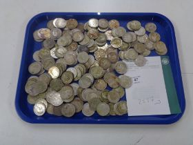 Approximately 185 pre 1947 silver half crowns, 2557g.