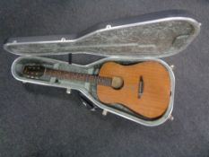 A Lyon by Washburn model LD7-M acoustic guitar, in hard case.