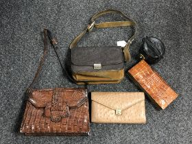 A vintage ostrich leather purse by Corbeau, together with an elephant leather handbag,