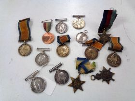 A collection of medals to include - Two Atlantic Stars, 1914-1915 medal to 84755 DVR G E Cole,
