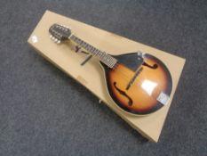 A Fender FM-100 mandolin, serial number 0150700027, sunburst body,
