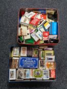 Two tins of matchboxes and vestas (2).