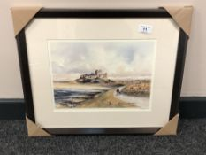 After Tom MacDonald : Bamburgh Castle, reproduction in colours, signed in pencil, 21 cm by 30 cm,