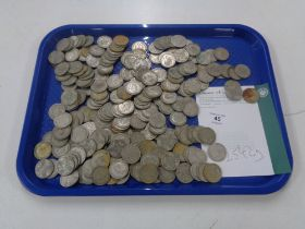 Approximately 229 two shilling pre 1947 silver coins, 2542g.