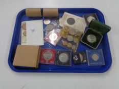 A collection of coins to include commemorative Crowns, Guernsey 10 shilling piece,