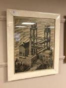 After Maurits Cornelis Escher (1989-1972) : Waterfall, monochrome print, circa 1960's,
