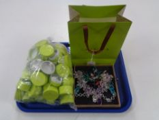 A quantity of Chamilia ring boxes, heavy white metal necklaces and gift bag.