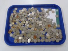 A large collection of pre 1947 silver one shillings, approximately 1886g.