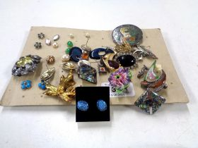 A collection of jewellery to include brooches, earrings, Sterling silver boat brooch etc.