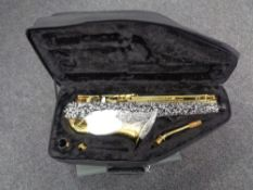 A Montreux saxophone, serial number N. L0031E, in case.