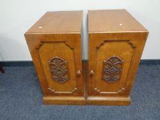A pair of Edwardian oak desk pedestals