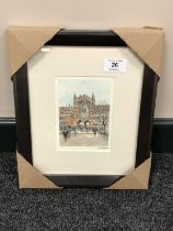 After Tom MacDonald : Newcastle University, reproduction in colours, signed in pencil, 13 cm x 9 cm,