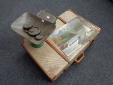 A 20th century luggage case together with a set of vintage kitchen scales and weights,