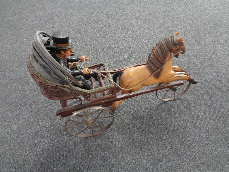 A wooden horse drawn cart.